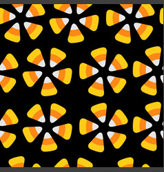 Candy corn happy halloween seamless pattern vector