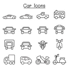car icon in thin line style vector image