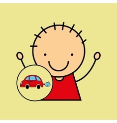 Cartoon boy happy car toy vector