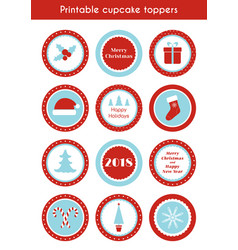 Christmas printable stickers cupcake toppers vector