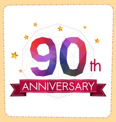 Colorful polygonal anniversary logo 2 090 vector