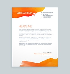 Creative orange ink letterhead design vector