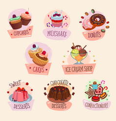 dessert icons for bakery shop vector image vector image