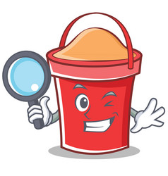 detective bucket character cartoon style vector image vector image