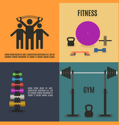 Flat design elements for gym and fitness vector