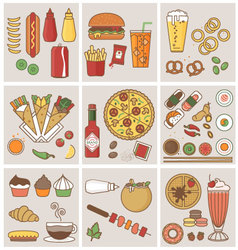 FOOD AND DRINK FLAT ICONS DESIGN vector image vector image