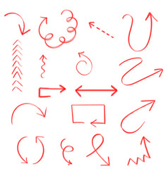 Hand drawn arrow set icon collection of pencil vector