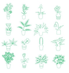 Home houseplants and flowers in pot outline icons vector