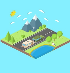Isometric of car and travel trailers summer trip vector