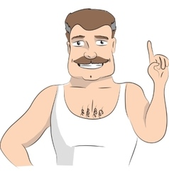 Man making attention gesture with forefinger vector image