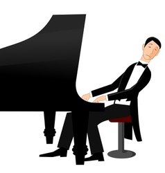 Man playing piano with passion vector image vector image