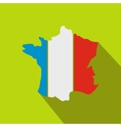 Map of the French Republic with national flag icon vector image vector image