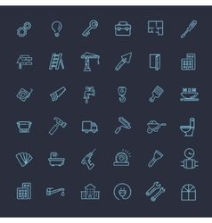 Outline web icons set - construction repair tools vector
