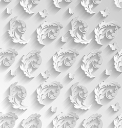 Paper Cut Seamless Pattern with Floral Elements vector image