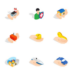 Property insurance icons isometric 3d style vector