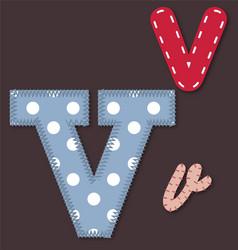 Set of stitched font - Letter V vector image vector image