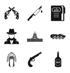 Shooter icons set simple style vector