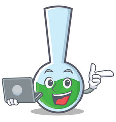 With laptop tube laboratory character cartoon vector