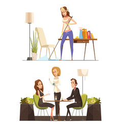 Young woman at home and in coffee house vector