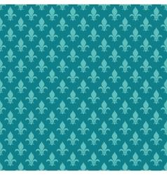 Teal fleur de lis seamless pattern vector
