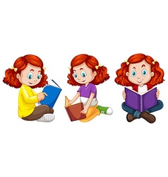Three actions of girl reading book vector