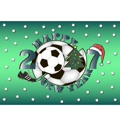 happy new year and soccer ball vector image
