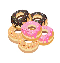 Six Glazed Donuts Assortment on White Background vector image
