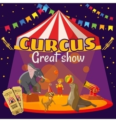 Circus show tent concept cartoon style vector image