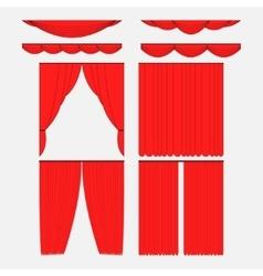 Set of red silk velvet curtains vector
