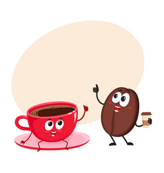 funny coffee bean and espresso cup characters vector image