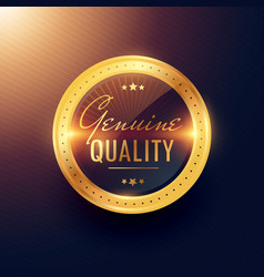 Genuine quality premium gold label and badge vector