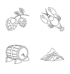 Alps a barrel of beer lobster hops vector