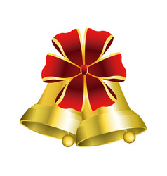 christmas bells with decorations golden ribbon vector image