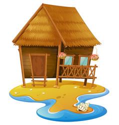 Wooden cabin on island vector