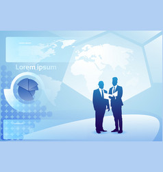 Two silhouette businessman talking discussing vector