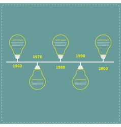 Timeline infographic with yellow light idea bulb vector