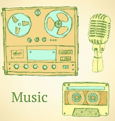 Sketch musical set in vintage style vector
