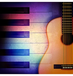 Abstract grunge music background with piano and vector