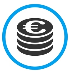 Euro coins column rounded icon vector