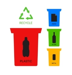 Colored recycle containers ecological vector