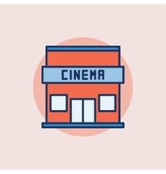 Cinema building flat icon vector