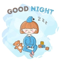 Sleeping girl with toys poster little kid vector