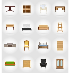 Furniture flat icons 17 vector