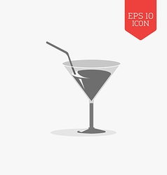 Cocktail glass with tube icon flat design gray vector