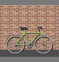 Bike in front of brick wall vector