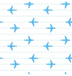 Blue and white flying planes striped seamless vector image vector image