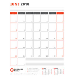 calendar template for 2018 year june business vector image