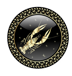 Cancer zodiac sign in circle frame vector