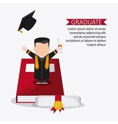 cartoon boy graduate icon vector image