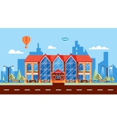 City street and hotel with large panoramic windows vector